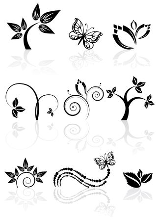 Monochrome nature icons with reflections, illustration Stock Illustration - 6685427
