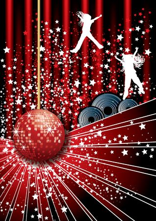 mirrorball: Disco party poster, illustration