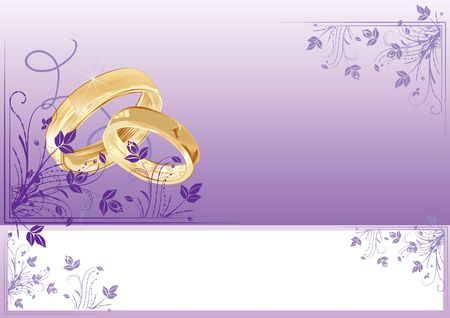 Wedding card with florals and copy-space, illustration Stock Illustration - 6776714