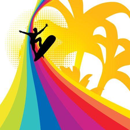 Surfer on the rainbow, illustration Stock Illustration - 6811986