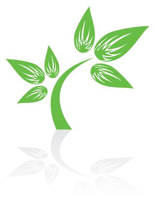vegetate: Green plant icon with shadow, illustration