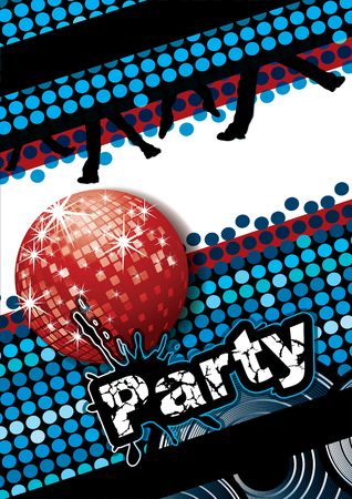 Party poster with disco ball and dot pattern, illustration Stock Illustration - 6866785