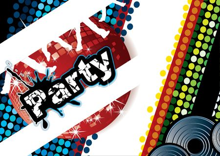Party poster with disco ball and dot pattern, illustration Stock Illustration - 6866788