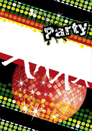Party poster with disco ball and dot pattern, illustration Stock Illustration - 6866787