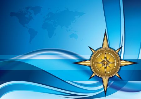 Gold compass on blue background with world map, illustration illustration