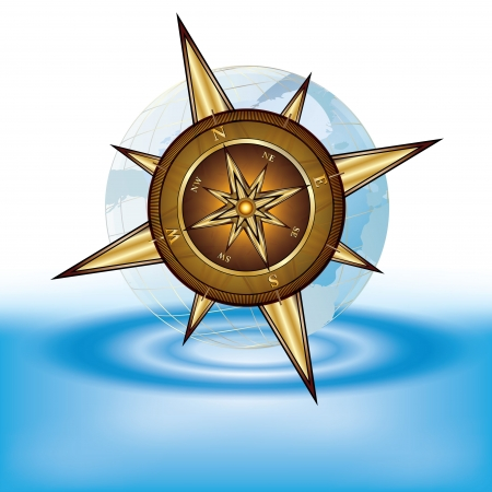 wind instrument: Gold compass and transparent earth on water, illustration Stock Photo