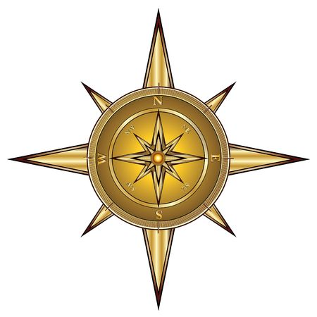 compass rose: Gold compass isolated on white, illustration