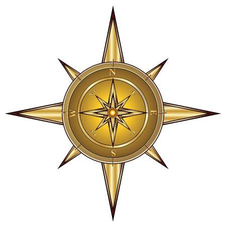 Gold compass isolated on white, illustration illustration