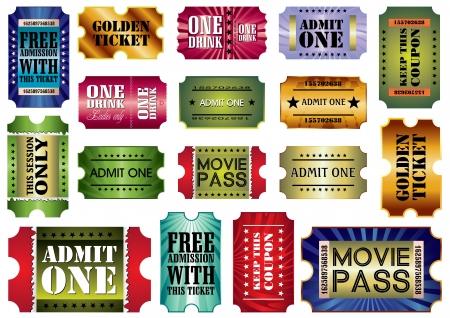 admit: set: admit one tickets, illustration