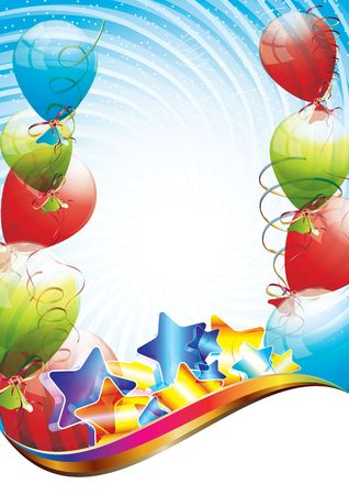 Colorful brightly backdrop with balloons, confetti, ribbons photo
