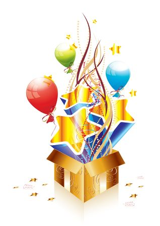 Golden surprise gift box, illustration Stock Illustration - 7426319