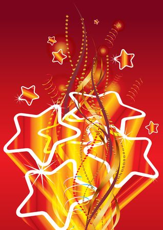Golden stars on red background, illustration Stock Illustration - 7426324