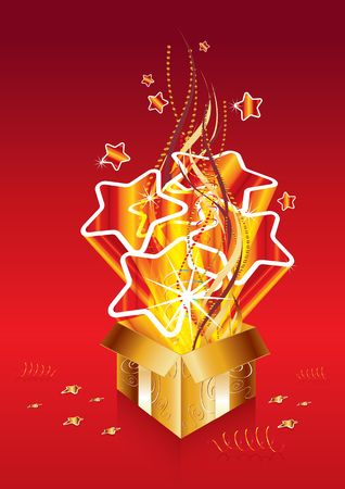 Golden christmas surprise gift, illustration Stock Illustration - 7426314