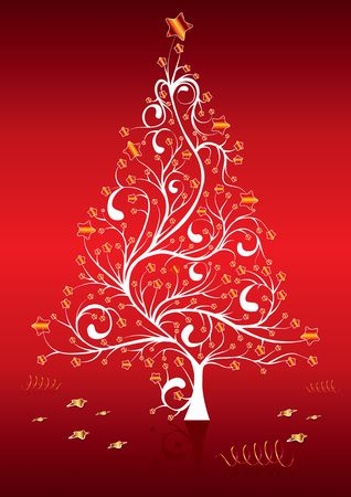 tree trimming: Christmas tree on the red background, illustration