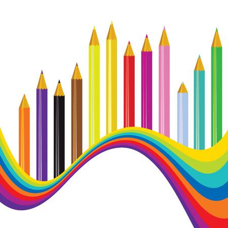 fournitures scolaires: Retour à l'école avec fond arc-en-ondes et des crayons, illustration Illustration