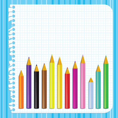 classroom supplies: Back to school background with torn paper and pencils,  illustration
