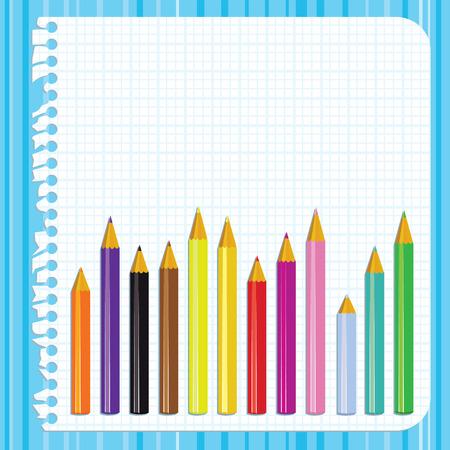 classroom supplies: Volver a la escuela de fondo con papel rasgado y l�pices, ilustraci�n  Vectores