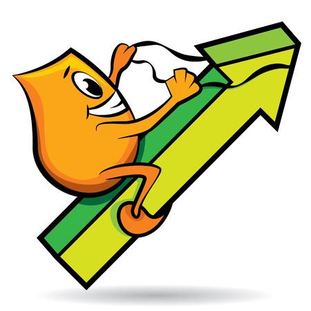 stirrup: Cartoon character - Blinky - riding arrow,  illustration Illustration