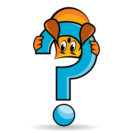 Cartoon character - Blinky - upside-down on the question mark,  illustration Vector