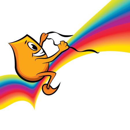 stirrup: Cartoon character - Blinky - riding rainbow, illustration Illustration