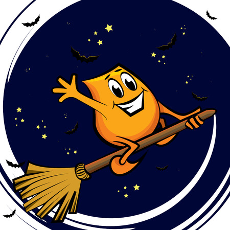 Cartoon character - Blinky - flying on the broom at the starry night,  illustration Stock Vector - 7675677