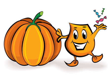 Cartoon character - Blinky - with treats and big pumpkin,  illustration Vector