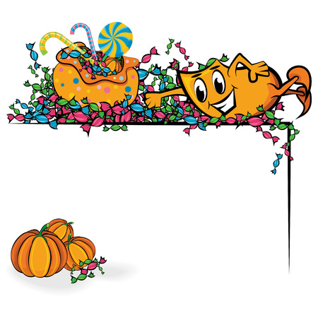 Cartoon Blinky swimming in treats corner, illustration Vector
