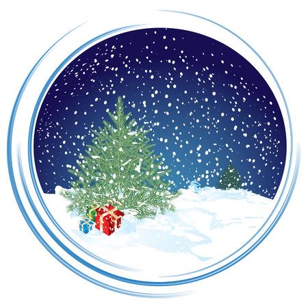Christmas scene in circle background, illustration Vektoros illusztráció