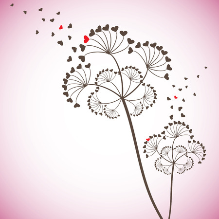 small plant: Valentine card with stylized dandelion,   illustration