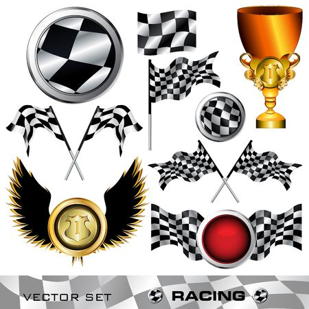 checker flag: Racing checkered symbols digital collage, illustration Stock Photo