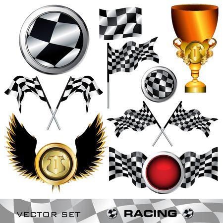 Racing checkered symbols digital collage, illustration Standard-Bild