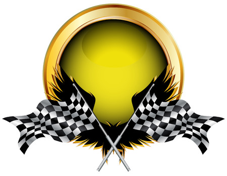 motocross: Racing flags and golden button for your text