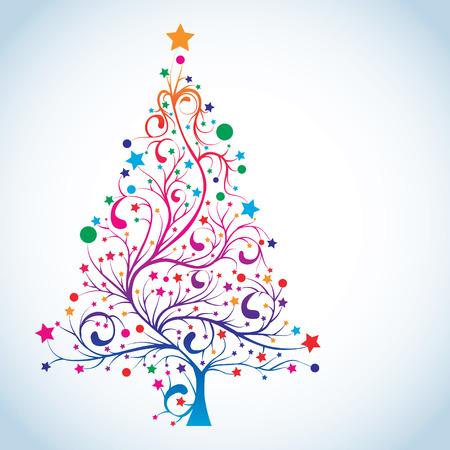 Christmas tree in rainbow colors Illustration