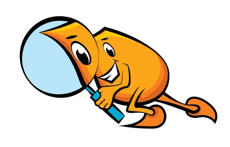 Cartoon character Blinky with magnifying glass Stock Vector - 8650037