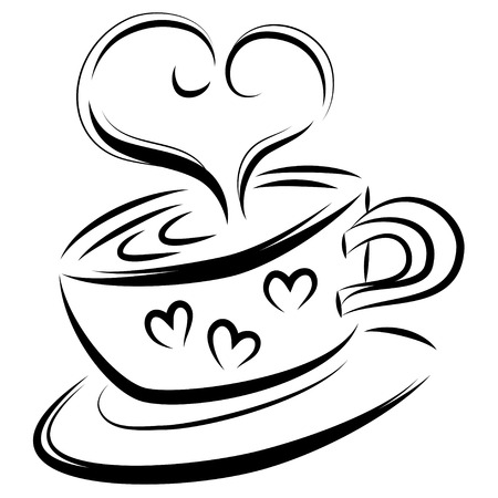 steaming: Love coffee line art, vector illustration