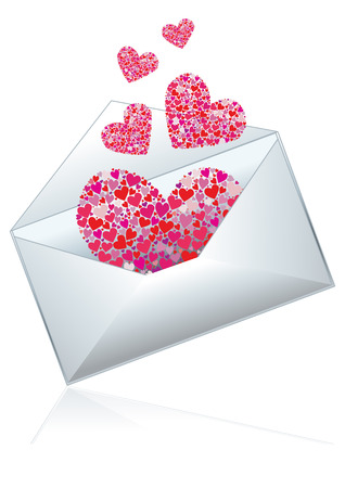 postal card: Mail with hearts, vector illustration