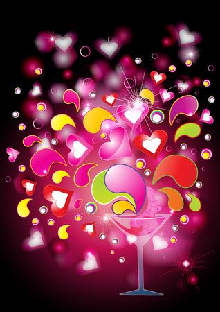 pocima: Amor poción con corazones y salpicaduras, ilustración vectorial de eps10