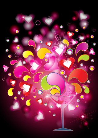 Love potion with hearts and splashes, eps10 vector illustration