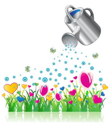 Watering valentine flowers, eps10 vector illustration Illustration