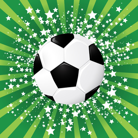Soccer ball on green burst background, illustration