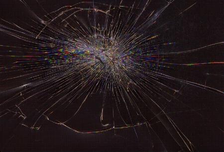 lcd screen: Cracked glass of lcd matrix display screen, horizontal view Stock Photo