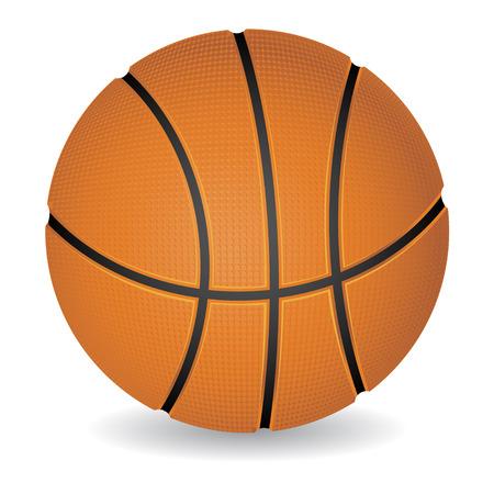 ballon basketball: Boule de basket-ball photor�aliste isol� sur fond blanc, illustration vectorielle