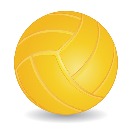 Yellow volleyball ball isolated over white, vector illustration Vector