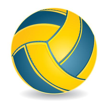 pelota de voley: Bola de voleibol azul y amarillo aislado en blanco, ilustraci�n vectorial