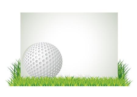 Golf ball voor lege banner in het gras, vectorillustratie Vector Illustratie