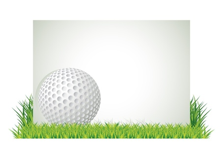Golf ball in front of empty banner in the grass, vector illustration