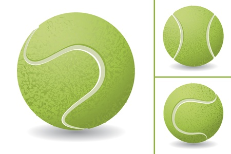 Tennis ball isolated over white background, vector illustration set