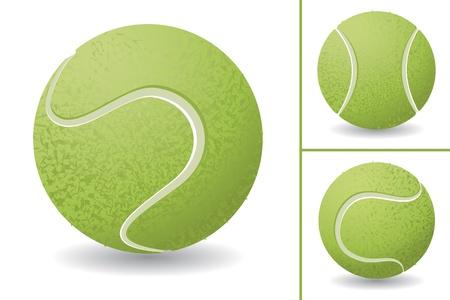 Tennis ball isolated over white background, vector illustration set
