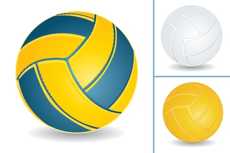 Volley-ball isolated over white background, vector illustration set Vector