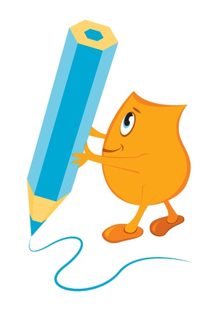 Cartoon character Blinky writing with big blue pen, vector illustration  Vector